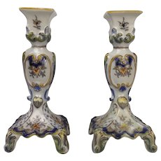 A Pair Of French Faience Pottery Candlesticks