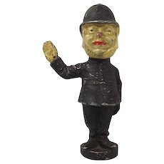 Aluminium Car Mascot Figure Of A Police Man c1920