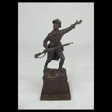 Robert Truscott Bronze Figure Of A WW1 French Infantry Soldier