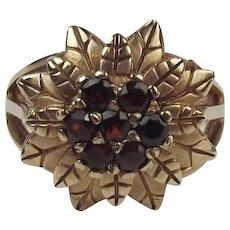 9ct Rose Gold Garnet Flower Ring UK Size M+ US 6 ¼
