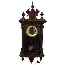 Circa 1900 German Mahogany Cased Wall Clock - Serviced