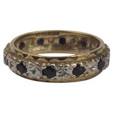 9ct Yellow Gold Sapphire & Diamond Eternity Band Ring UK Size L+ US 6