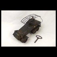 Circa 1937 Lineol German Radio Scout Car Clockwork Tin Plate Model