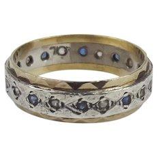 9ct Yellow & Silver Aquamarine & Citrine Eternity Band Ring UK Size K+ US 5 ¼