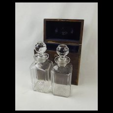 Cased Pair Of Cut Glass Decanters By Bramar of London