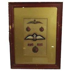 Framed Royal Flying Corps Officers Badge Set #1
