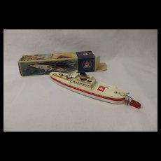 1950's Boxed Arnold Single Stack Ocean Liner Tinplate Wind Up Toy