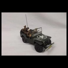 1950's Arnold Military Police Jeep Wind Up Tinplate Toy #1