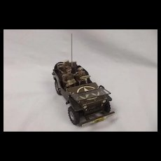 1950's Arnold Military Police Jeep Wind Up Tinplate Toy #2