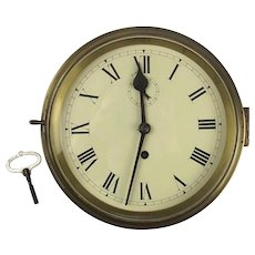 Early 20th Century Chain Fusee Naval Brass Bulkhead Wall Clock
