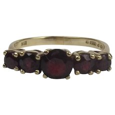 9ct Yellow Gold Five Stone Garnet Ring UK Size Q+ US 8 ½