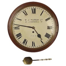 12 Inch Mahogany Wall Wire Fusee Clock By W.J. Murray Ltd c.1880
