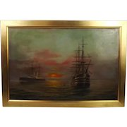 William L. Wyllie Oil On Canvas Seascape With HMS Victory