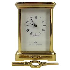 1992 Swiss Made Matthew Norman Brass Carriage Cased Clock 1754