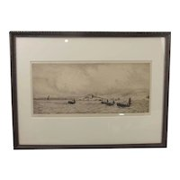 William L. Wyllie Signed Etching Of Fishing Boats Off The Coast