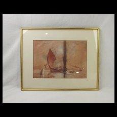 W. E. Atkins (1842-1910) Watercolour Of A Fishing Boat Off The Coast