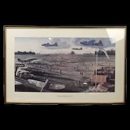 """Framed Print """"The Return From The Raid Over Rouen"""" By Peter Hurd"""
