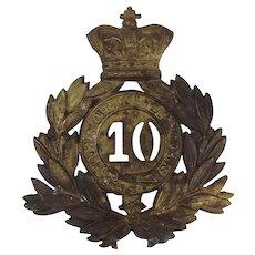 Victorian 10th Regiment Of Foot Shako Plate