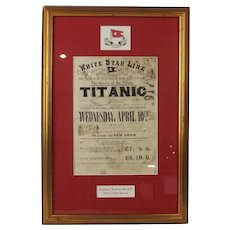 Framed White Star Line Titanic Railway Warrant For David John Bowen