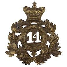 Victorian 14th Regiment Of Foot Shako Plate