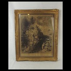 Framed 1809 Lord Nelson Battle Of Trafalgar Lithograph by J. Drummond