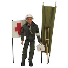 1970's Palitoy Action Man Figure With Medic Uniform