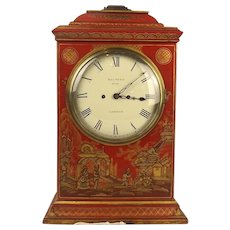 Chinoisserie Red Lacquer Twin Fusee Bracket Clock c1825 By Holmden, London