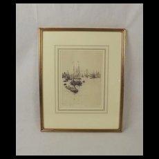 Rowland Langmaid Signed & Framed Etching Of Tower Bridge
