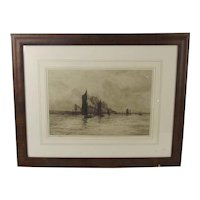 William L. Wyllie Signed & Framed Etching Of A Coastal Scene With Boats