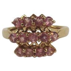 9ct Yellow Gold Pink Garnet Cluster Ring UK Size N US 6 ½