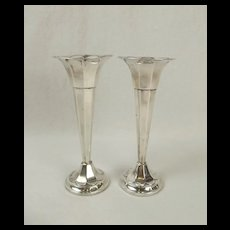 Pair Of Silver Trumpet Vases c1919