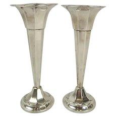 Pair Of Silver Trumpet Vases c1919