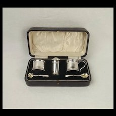 Cased Three Piece Silver Cruet Set c1924
