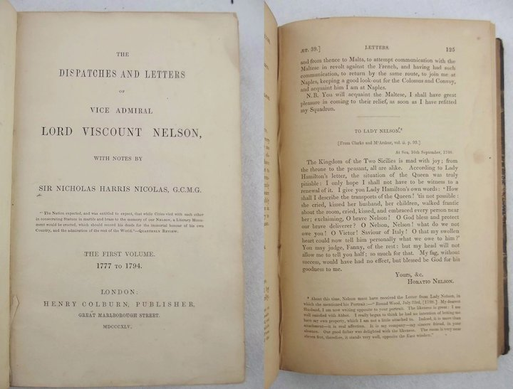 Set Of Six Books Nelsons Despatches And Letters 2nd Edition c1845/6