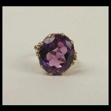 9ct Yellow Gold Purple Sapphire Ring c1959 UK Size P US 7 ½