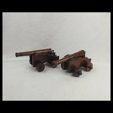 Pair Of Model Treen Cannons Made Of Wood From HMS Foudroyant