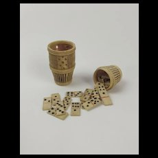 Napoleonic Prisoner Of War Hand Carved Set Of Bovine Bone Dominoes c1803-1815