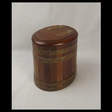 Circa 1900 Oak & Bound Brass Barrel Tobacco Jar