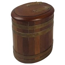 Circa 1900 Oak & Bound Brass Barrel Tobacco Jar
