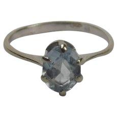 18ct White Gold Aquamarine Ring UK Size L US 5 ½