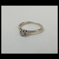 9ct White Gold Diamond Solitaire Ring UK Size N+ US 6 ¾