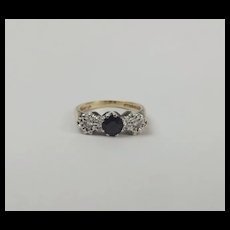 9ct Yellow Gold Sapphire & Diamond Ring UK Size M+ US 6 ¼