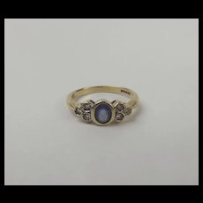 9ct Yellow Gold Sapphire & Diamond Ring UK Size K+ US 5 ½