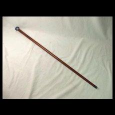 Very Rare Moorcroft Capped Blue Flower Head Wooden Walking Stick