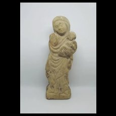 14th Century Limestone Mary & Jesus Carved Figure