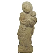 14th Century Limestone Mary & Jesus Carved Figure