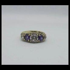 9ct Yellow Gold Five Stone Glass Ring UK Size P+ US 7 ¾