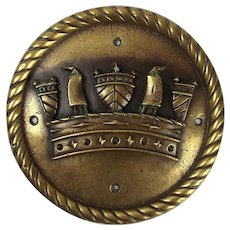 HMS Trafalgar Bronze Ships Crest Tompian Mounted 1887 Trafalgar Class Battleship