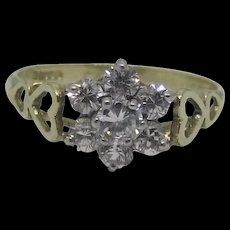 9ct Yellow Gold Cubic Zirconia Flower Head Ring UK Size L US 5 ½