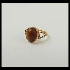 9ct Yellow Gold Tigers Eye Ring UK Size J+ US 5
